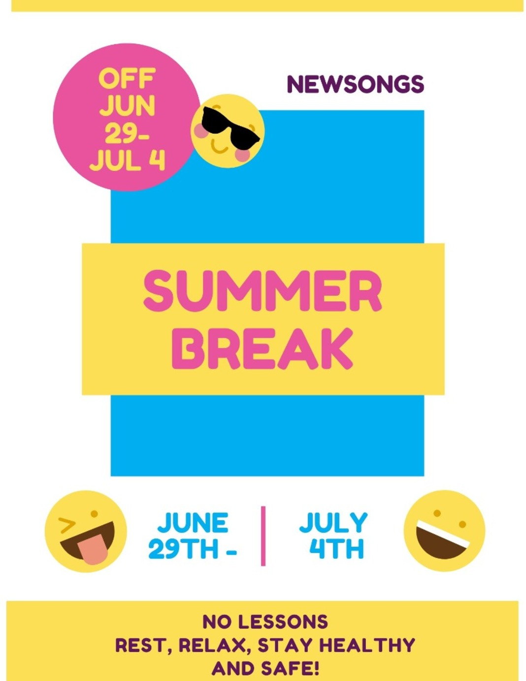 Music Lesson Summer Break is coming up! Image