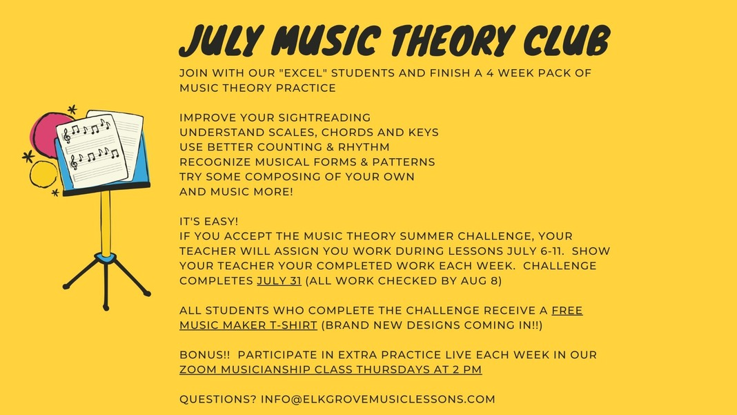 Welcome back!  Join the summer music theory challenge for Music Makers Image