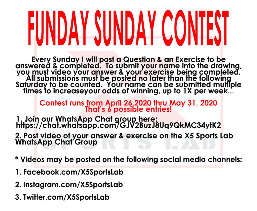 X5 Sports Lab Funday Sunday Contest Image